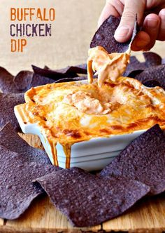 Spicy, creamy buffalo chicken dip only takes minutes to put together!