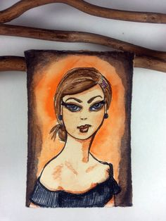 ACEO Portrait Girl ORIGINAL Olivia In THe by MazzyBlueStudios, $20.00