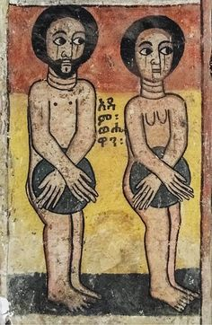 Painting of Adam and Eve inside the Abreha and Atsbeha Church, Ethiopia