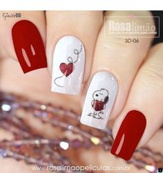 65 Happy Valentines Day Nails For Your Romantic Day 65 Happy Valentines Day Nails For Your Romantic Day,nail art nails art nails acrylic nails nails Red Nail Art, Pink Nails, Glitter Nails, Red Art, Love Nails, Pretty Nails, Snoopy Nails, Valentine's Day Nail Designs, Valentine Nail Art
