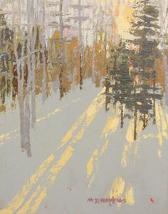Brushstrokes and color effectively convey sharp winter light.   Madeleine Hopkins