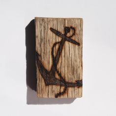 Woodburned Driftwood Magnet - Anchor on Oak by Trevor Moody of Dirigo Craft & Supply Co.