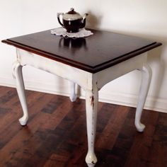 Cabriole Leg End Table- Dark Stain and lightly distressed white