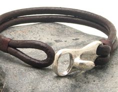 FREE SHIPPING Men's leather bracelet Brown leather by eliziatelye, $26.00 for Tony