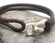 FREE SHIPPING Men's leather bracelet Brown leather by eliziatelye, $26.00 for Tony