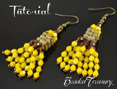 Shiny Tassels - beadwoven earrings tutorial / Beaded earrings made with two-hole Rulla beads, bicone beads, fire polished beads and 11/0 seed beads