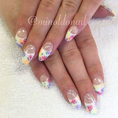 #floral #flowers #frenchwithatwist #pretty #beautiful #elegant #gems #crystals #swarovski #pretty #beautiful #nails #gelnails #nailart #naildesign #handpainted