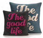 The Good Life Throw Pillow - Covers come in a choice of Organic Hemp or Recycled Felt. The felt and inserts used to make this pillow comes from 100 percent post consumer recycled water bottles.