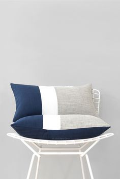 Nautical Chambray Colorblock Pillows by #JillianReneDecor