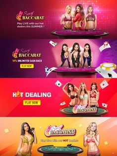 Web Banner Design For Online Baccarat. Banners Web, Web Banner Design, Web Design, Logo Design, Free Slot Games, Logos Retro, Gaming Banner, Youtube Channel Art, Youtube Banners