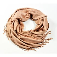Silky Caramel Pashmina design by Burke Decor ($8.80) ❤ liked on Polyvore featuring accessories, scarves, wrap shawl, burke decor, fringe scarves, fringed shawls and viscose scarves