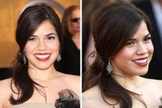 Ferrera perfects this romantic half-updo, and so can you….