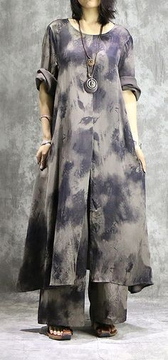 Loose prints silk dresses Organic Shape gray two pieces long Dresses summer Two Piece Long Dress, Grey Two Piece, Long Summer Dresses, Summer Outfits, Long Dresses, Dress Summer, Summer Clothes, Blouses For Women, Pants For Women