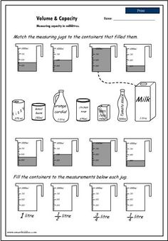volume and capacity activities Capacity Activities, Capacity Worksheets, Volume Worksheets, Measurement Activities, Math Measurement, Math Worksheets, Math Resources, Math Activities, Volume And Capacity