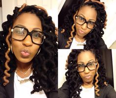 My faux locs! I used pipe cleaners to get them curly!! Love love love!! Yarn wraps!
