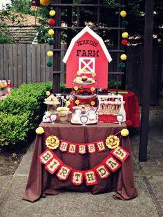 "Photo 1 of 13: Barnyard/Farm / Birthday ""Barnyard Birthday Dessert Table"" | Catch My Party"