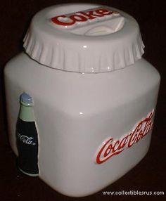 White Container w/Coke Bottle on side Cookie Jar Coca Cola Ad, Always Coca Cola, World Of Coca Cola, Coca Cola Bottles, Kinds Of Cookies, Cute Cookies, Antique Cookie Jars, Coca Cola Kitchen, Cocoa Cola
