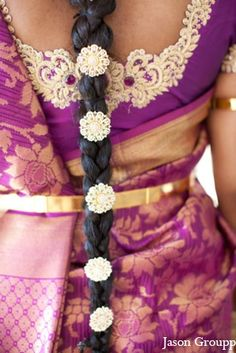 Love the sari blouse detail and the hair adornments!  Exquisite Indian Wedding by Jason Groupp Photography, Jersey City, New Jersey | MaharaniWeddings.com