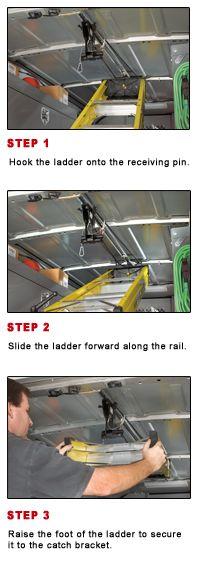 Jet Rack™ Step Ladder Storage System - Inside Van Racks - Ladder Racks