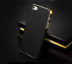New Arrival Black Deluxe Chrome Leather Hard Back Case Cover Skin For Apple iPhone 5 5G 5th Free shipping & wholesale $4.55