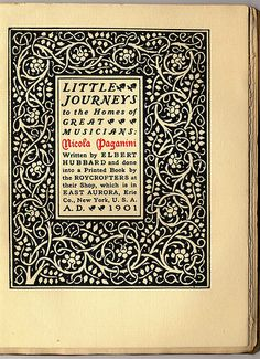 Roycroft print design: Little Journeys to the Homes of Great Musicians