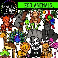 This set is filled to the brim with all your zoo animal favorites… Rainforest Animals, Zoo Animals, Math Clipart, Valentines Day Clipart, Total Image, Winter Clipart, Animal Doodles, Tree Frogs, Colour Images