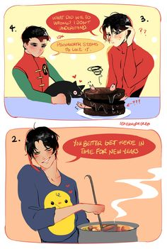 "askhungryeren: "" Happy New Year!! The boys are trying their best to cook! Based on this Post """