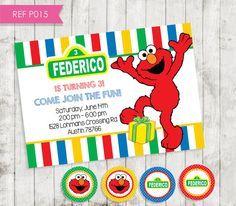 Elmo Invitation Invitacion Cumpleanos Elmo Plaza Sesamo Free Tags
