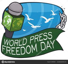 Microphone, Ribbon, Broken Chains and Doves for Press Freedom Day, Vector Illustration Freedom Day, World Press, Broken Chain, Birds In Flight, Typography, Stock Photos, Illustration, Letterpress, Flying Birds
