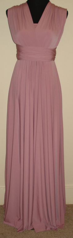 Infinity dress bridesmaid convertible dress dusky pink bandeau dress multiway dress full length dress twist wrap dress  formal dress wedding by stitchawayrose on Etsy