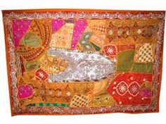 Patchwork Sari Tapestry Red Wall Hangings $88.95