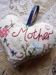 Mother's Day Vintage style embroidered Lavender Fabric Heart - definitely do-able