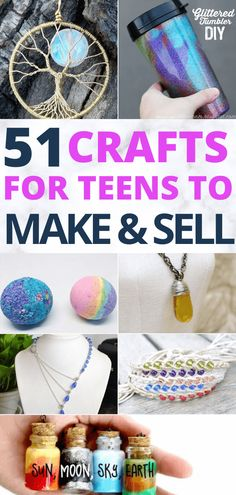 Teen girls will LOVE this list of fun and easy DIY crafts they can do all summer long. These 50 easy crafts you can make and sell online are THE BEST! Who knew there were so many great crafts for teen Diy Projects That Sell Well, Crafts For Teens To Make, Crafts To Make And Sell, Fun Diy Crafts, Diy For Teens, Sell Diy, How To Make, Diy Crafts Summer, Diy Summer Decorations