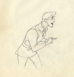 Matching original rough animation drawings of Prince Phillip and Princess Aurora by Disney animators Milt Kahl and Marc Davis