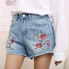 #AdoreWe #YesStyle Ivena Embroidered Fray Denim Shorts - AdoreWe.com