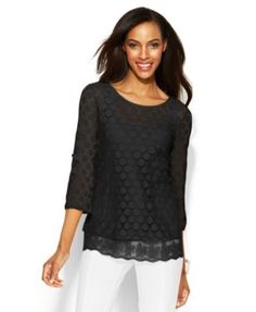 Alfani Three-Quarter-Sleeve Dot-Lace Top