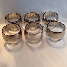 Dorothy Thorpe Large Silver Fade Roly Poly Glasses set of 6 vintage 50's