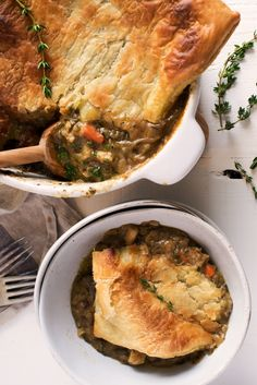 Vegetarian Root Vegetable Pot Pie Recipe. This Thanksgiving or Christmas meal is easy to make vegan and it's a real crowd pleaser - even meat eaters will love this tasty alternative main dish. Guests are often limited to side dishes at holiday soirées but not with this dinner pie. You'll need sweet onions (like vidallia or walla walla), shallots, garlic, parsnips, celery root, potatoes, carrots, chestnuts, and herbs.