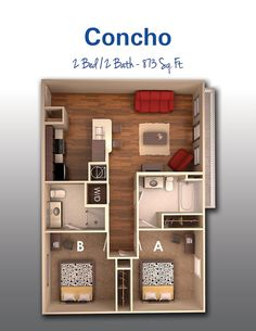 45 New Ideas Apartment Layout Small 2 Bedroom House Plans, Sims House Plans, Small House Plans, House Floor Plans, Apartment Layout, Apartment Design, Apartment Floor Plans, Small Apartment Plans, Small House Design