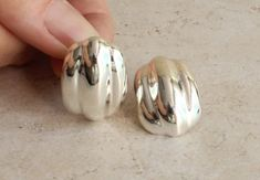Los Ballesteros Ribbed Earrings Sterling Silver Puffy Hollow Taxco Mexico Silver Pierced Posts Vintage