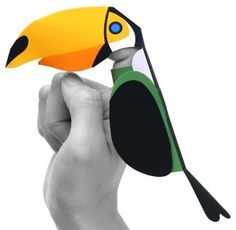 You will need to print only one sheet of paper to build this Toucan Finger Puppet paper toy for kids created by PAN Design & Masahiro Wata...