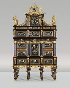 """The Badminton Cabinet. Grand Ducal workshops, Florence (Galleria dei Lavori), Baccio Cappelli, bronze figures by Girolamo Ticciati. Pietra Dura, Ebony and Ormolu Cabinet - """"Badminton Cabinet"""", 1720/1732. Standing 386 cm high and 232.5 cm wide, this monumental Cabinet is undoubtedly the greatest Florentine work of art of its time. Commissioned by Henry Somerset, 3rd Duke of Beaufort, from the Grand Ducal workshops in Florence in 1726. -Liechtenstein, The Princely Collections- Antique Furniture, Painted Furniture, Home Furniture, Furniture Design, Oriental Furniture, Luxury Furniture, Modern Furniture, Victorian Furniture, Traditional Furniture"""