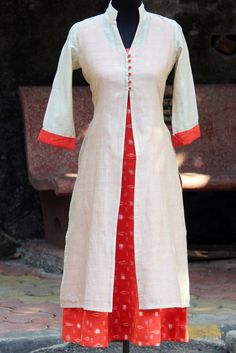 dress - vanilla chanderi & orange