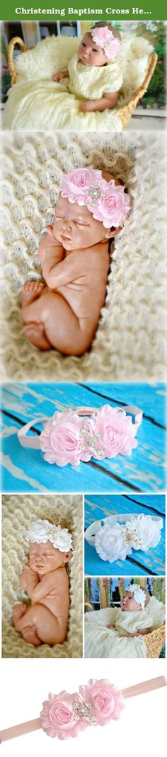 """Christening Baptism Cross Headband Baby Newborn Girl Goddaughter Granddaughter Gift (Pink). Double Shabby Chic Chiffon Flower Headband embellished with a sparkly rhinestone cross center, attached to a matching soft adjustable headband. Click on the link """"The Posh Contessa"""" above the product title to see all of our other beautiful accessories."""