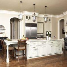 Kitchen With Long Island, Narrow Kitchen Island, Modern Kitchen Island, Kitchen Island With Seating, New Kitchen, Kitchen Ideas, Kitchen Photos, Kitchen Redo, Gally Kitchen