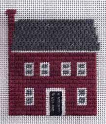 colonial brick house in needlepoint. Image & design copyright Napa Needlepoint.