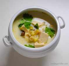 Thai Tom Kha Gai Soup #Vegetarian (I need a soup board!) Thai food is not supposed to be vegetarian. They create magic with fish and meats. Turning it vegetarian requires some special touches.