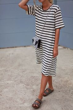 striped jersey dress and birkenstock