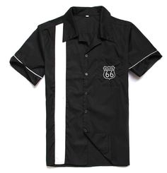 Men Route 66 White Stripe Cotton Button Up Retro Bowling Shirt