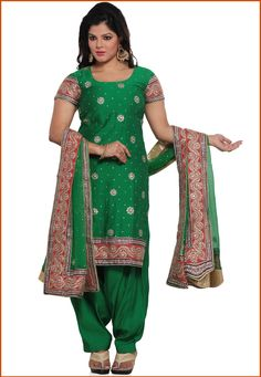 Green Pure Silk Punjabi Salwar Suit Online Shopping: KHS451